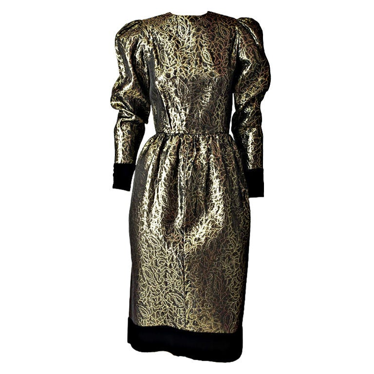 Givenchy Gold lame and Velvet Cocktail Dress 1