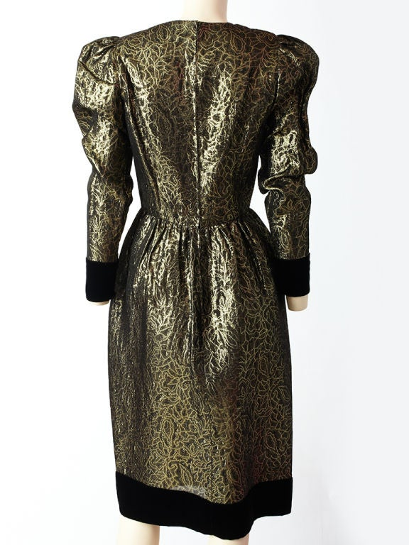 Givenchy Gold lame and Velvet Cocktail Dress 4