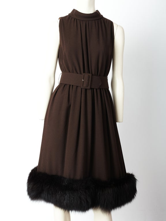 Chocolate Brown Cocktail Dress With Mink Hem 2