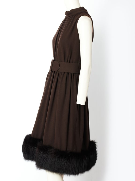 Chocolate Brown Cocktail Dress With Mink Hem 3