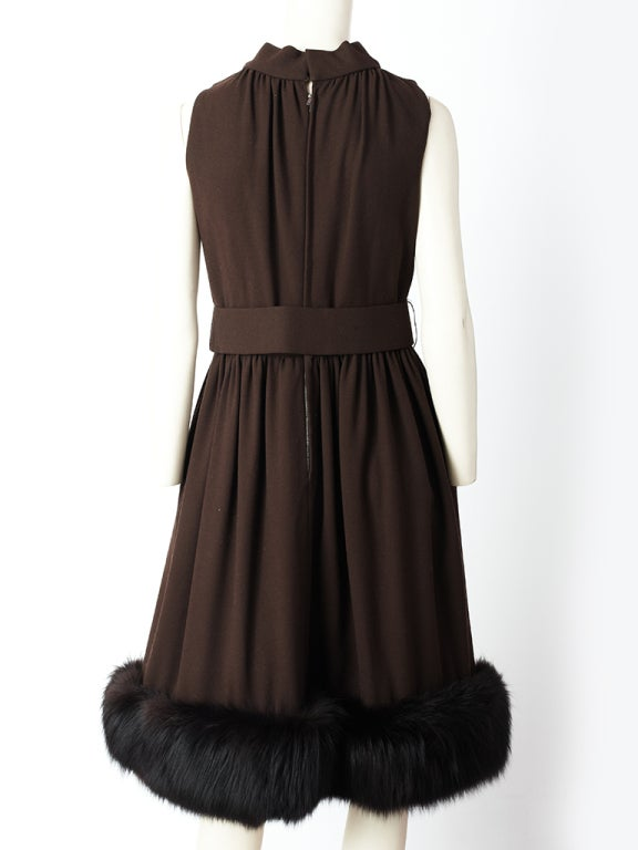 Chocolate Brown Cocktail Dress With Mink Hem 4