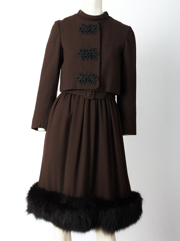Chocolate Brown Cocktail Dress With Mink Hem 5