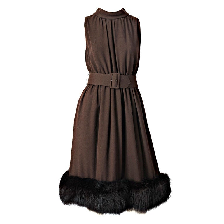 Chocolate Brown Cocktail Dress With Mink Hem 1