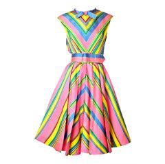 John Moore Chevron Stripe Day Dress