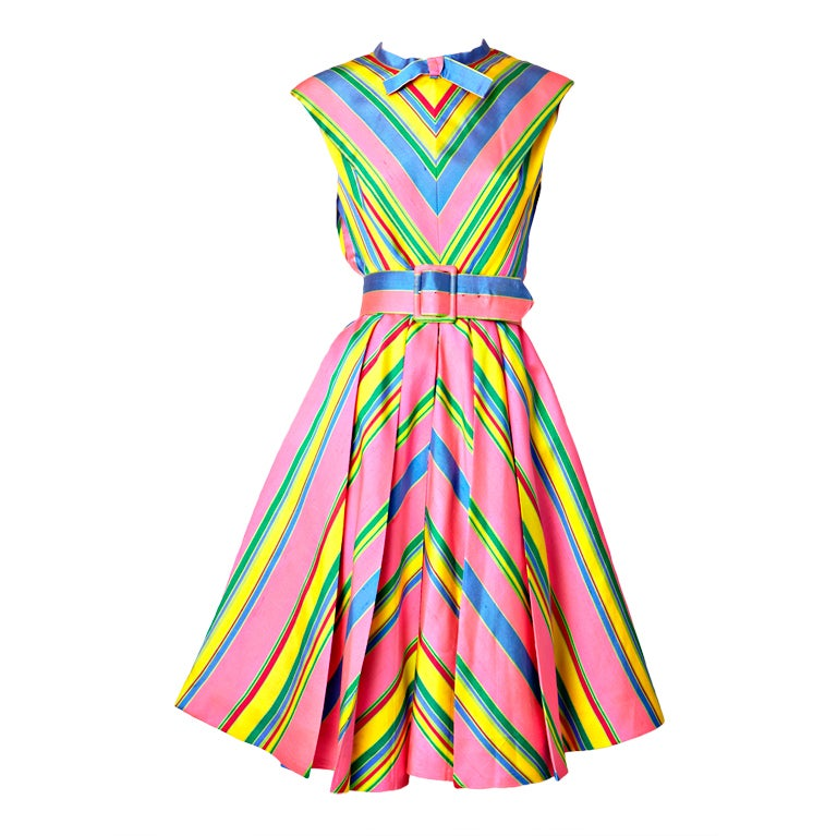 John Moore Chevron Stripe Day Dress