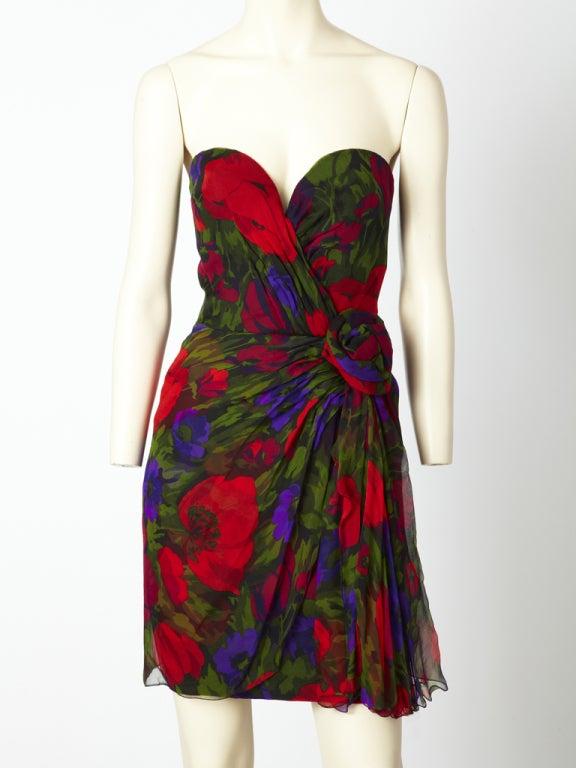 Vicky Tiel Floral Chiffon Cocktail Dress 2