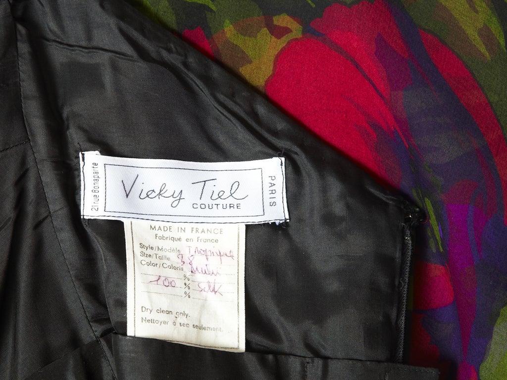 Vicky Tiel Floral Chiffon Cocktail Dress 6