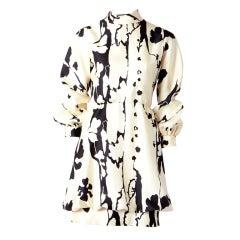 John Moore Abstract Print Silk Day Dress