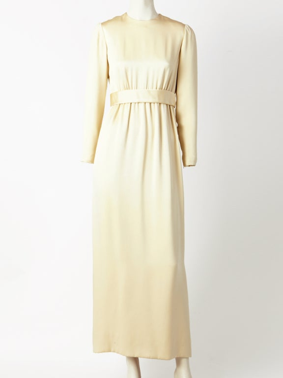 Norell Tassel Ivory Satin Gown 2