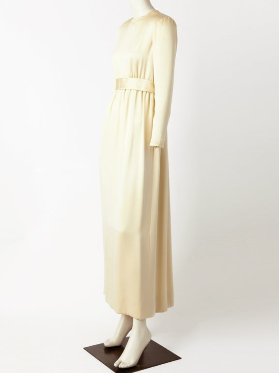 Norell Tassel Ivory Satin Gown 3