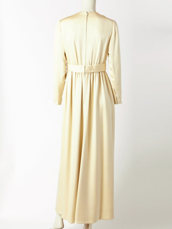 Norell Tassel Ivory Satin Gown 4