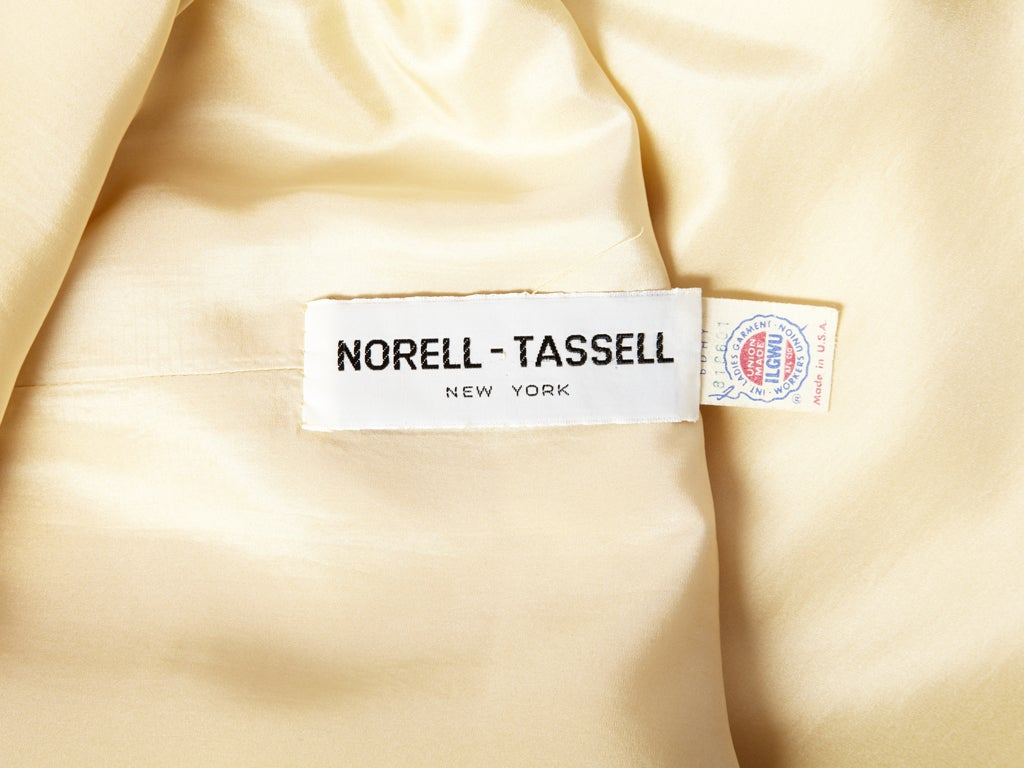 Norell Tassel Ivory Satin Gown 5