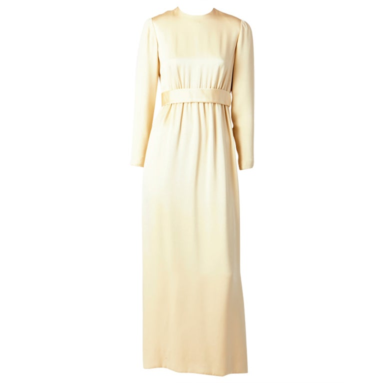 Norell Tassel Ivory Satin Gown 1