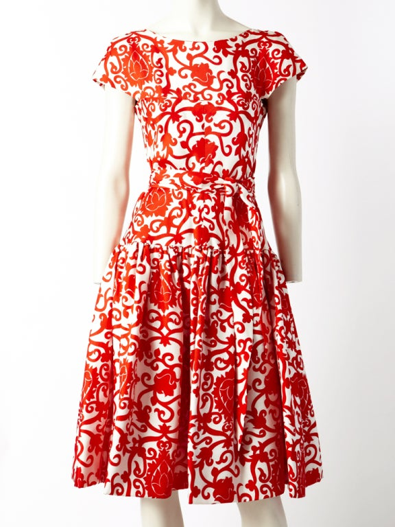 Traina Norell Red and White Silk Day Dress 2
