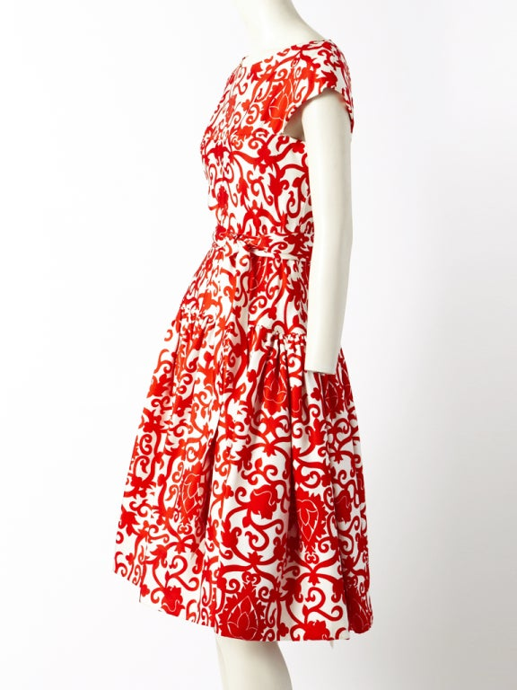 Traina Norell Red and White Silk Day Dress 3