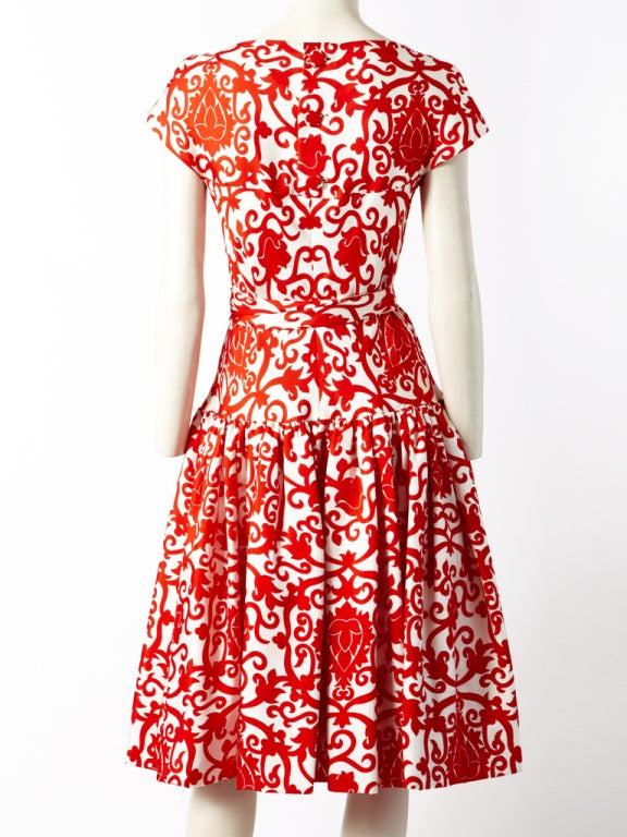 Traina Norell Red and White Silk Day Dress 4