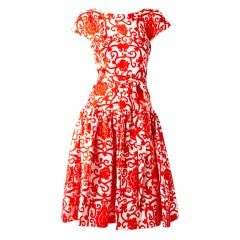 Traina Norell Red and White Silk Day Dress