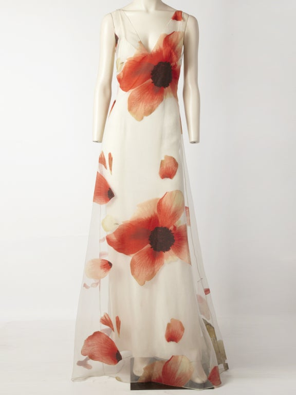 Bill Blass Poppy Flower Gown 2