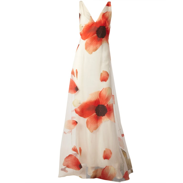 Bill Blass Poppy Flower Gown