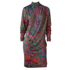 Leonard Silk Jersey Paisley Pattern Dress