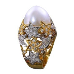 Pearl Diamond Gold Star Cocktail Ring