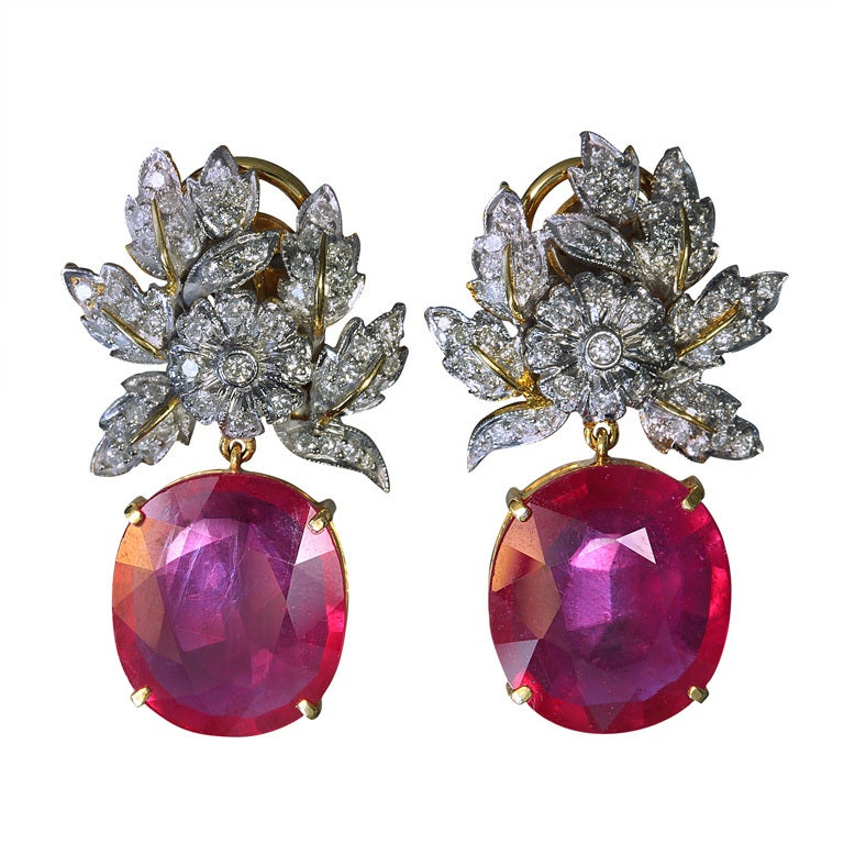 A Pair Of Ruby And Diamond Earrings At 1stdibs