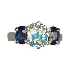Diamond and Sapphire Platinum Ring
