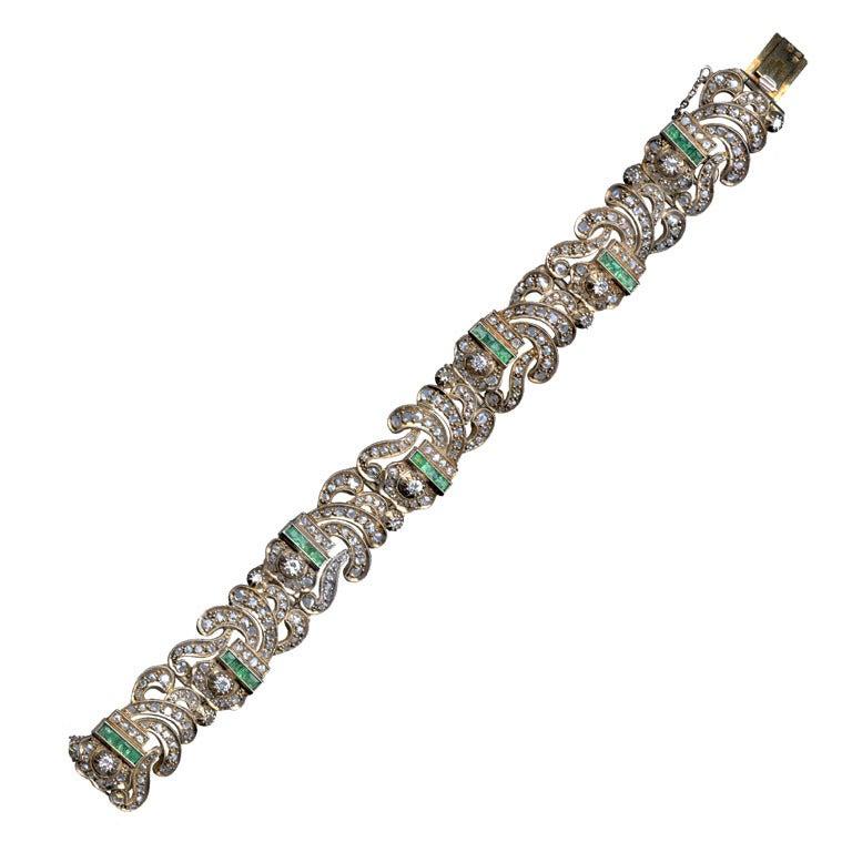 Art Deco Diamond Emerald Link Bracelet