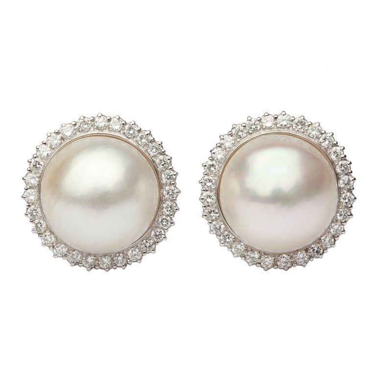 a pair of classical mab 233 pearl earrings at 1stdibs