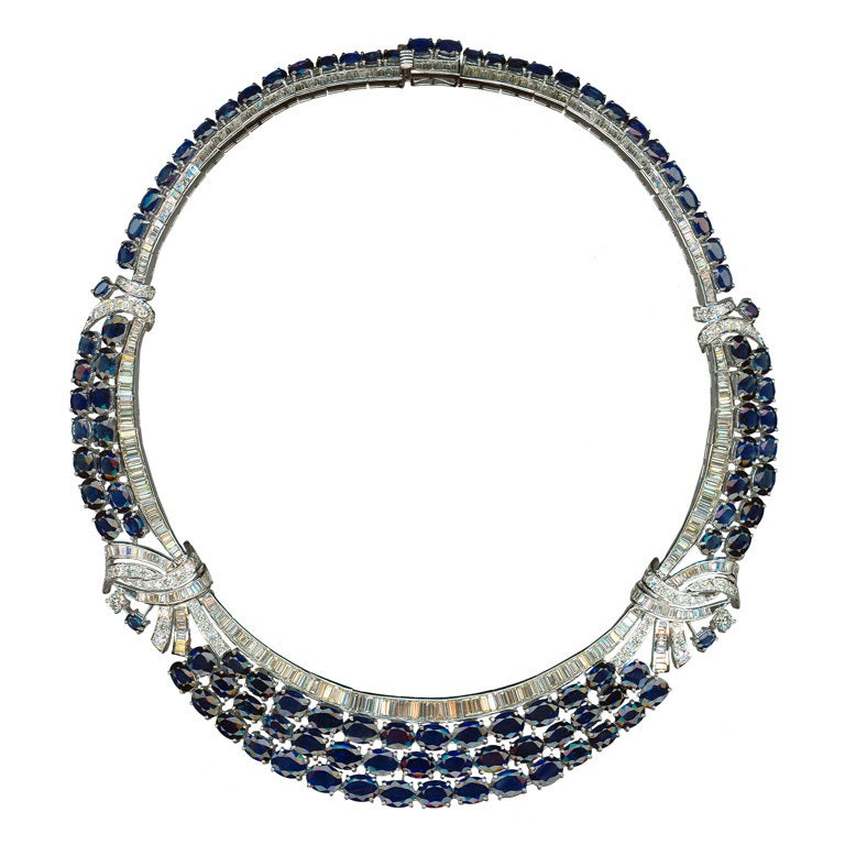 Blue Sapphire and Diamond 18 Carat Gold Necklace