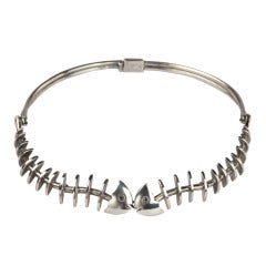 Antonio Pineda Fishbone Silver Necklace