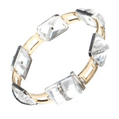 Art Deco Rock Crystal 18 Carat Gold Bracelet