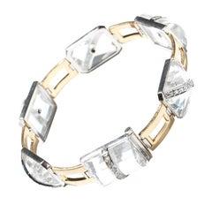 Art Deco Rock Crystal 18 Carat Gold Bracelet
