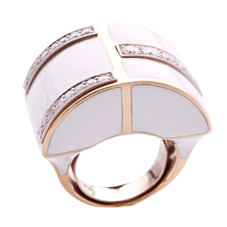 david webb gold and white enamel ring set with diamonds at