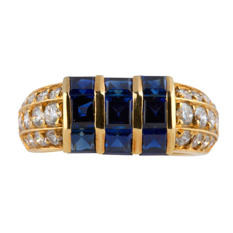 Van Cleef & Arpels Sapphire Diamond Gold Ring For Sale