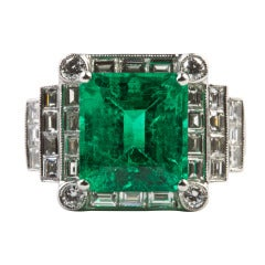 Colombian Emerald Diamond Platinum Engagement Ring