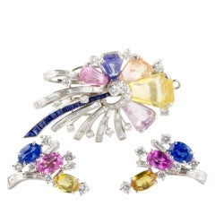Oscar Heyman Colored Sapphire and Diamond Set