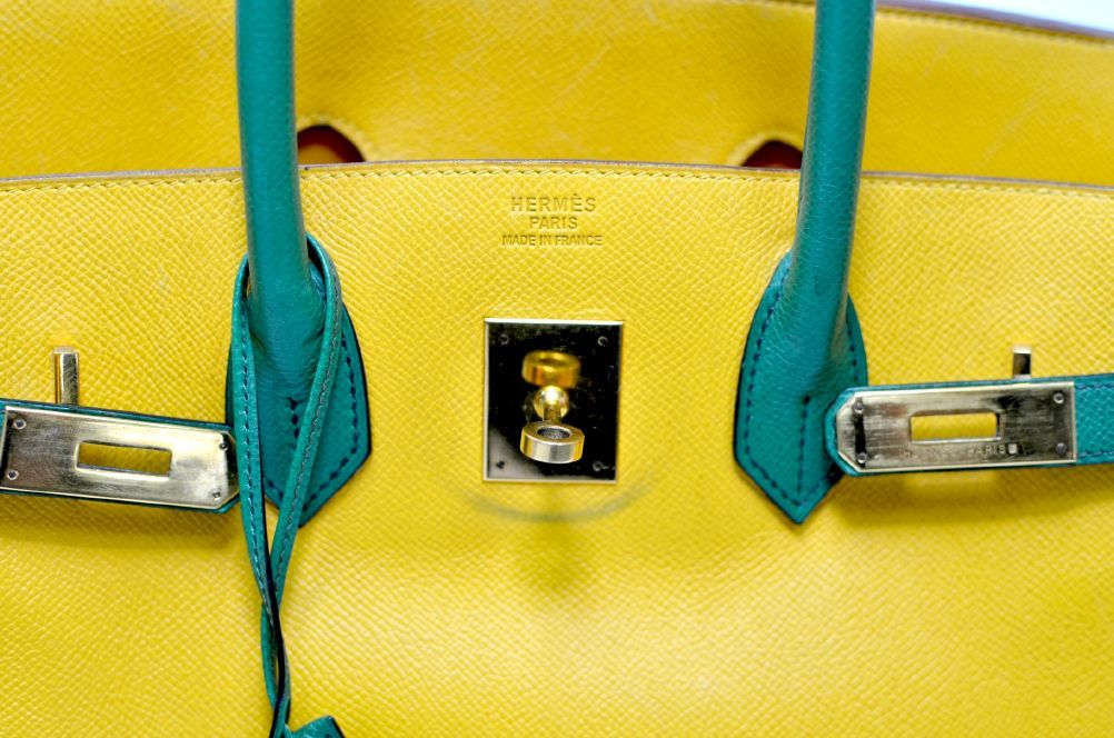 Hermes Birkin Two Tone Yellow Gold Hardware 35cm For Sale 2