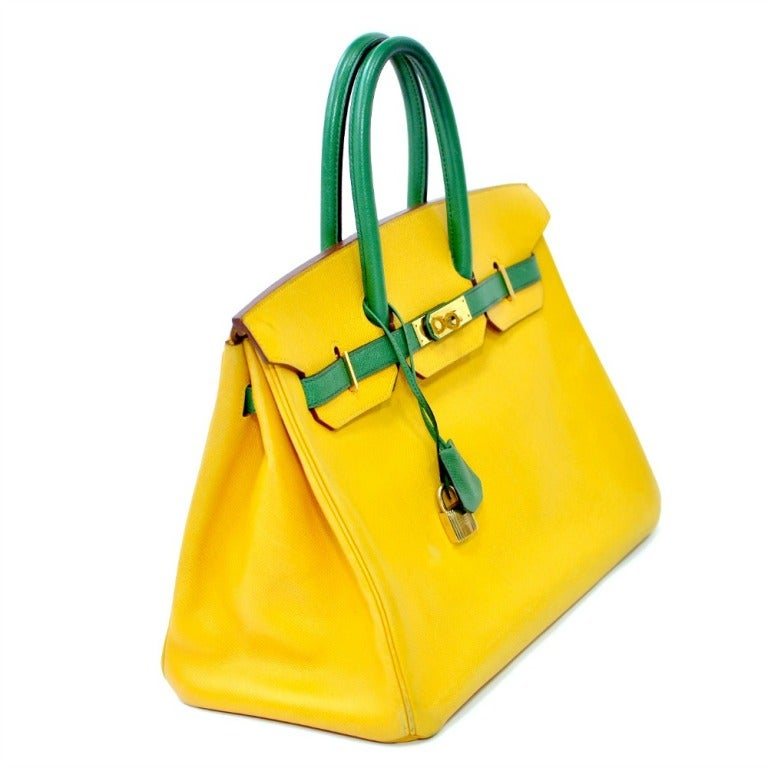 """Authentic 35cm Hermes Birkin Bag in Two Tone Yellow and Green with Gold Hardware  Color : Yellow and Green Hardware : Gold  Measurements : 13"""" W / 10"""" H / 6.5"""" D Date Code : Circle X Includes : Lock Key & Clochette Condition : Good"""