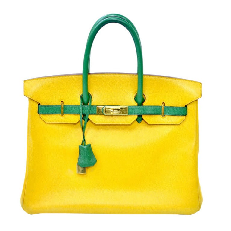 Hermes Birkin Two Tone Yellow Gold Hardware 35cm For Sale