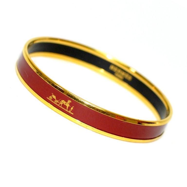 Hermes Red Enamel Calache Bangle Bracelet at 1stdibs
