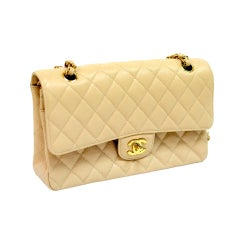 Chanel Cream Caviar Double Flap Gold Hardware 25cm.