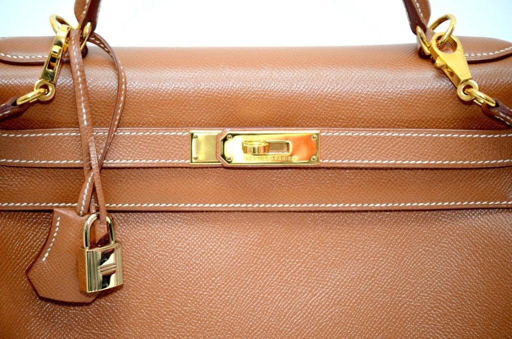 Hermes Kelly Gold Epsom Gold HardWare With Starp. 4
