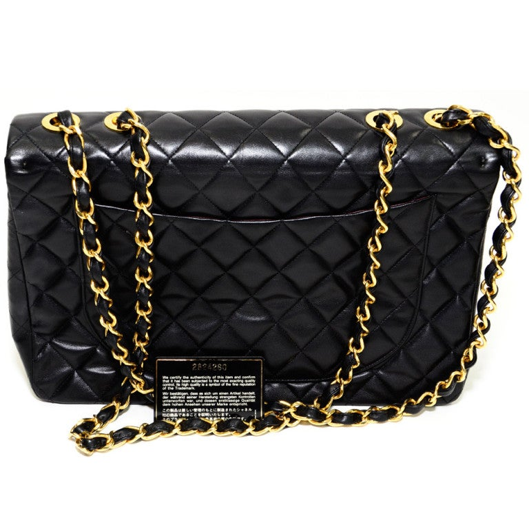 Chanel Jumbo Quilted Double Flap Black 34cm Gold Hardware. 2