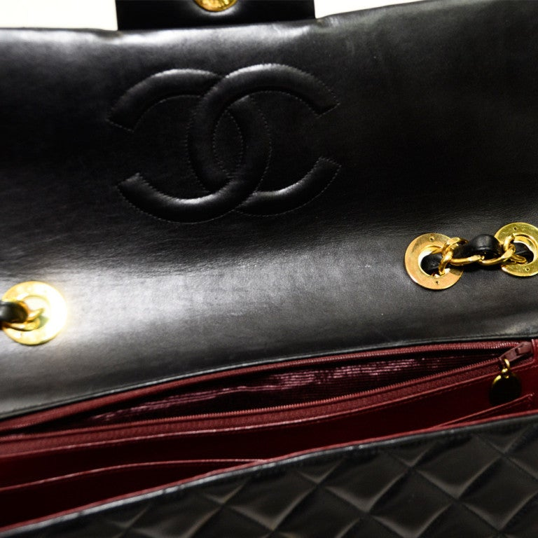 Chanel Jumbo Quilted Double Flap Black 34cm Gold Hardware. 5