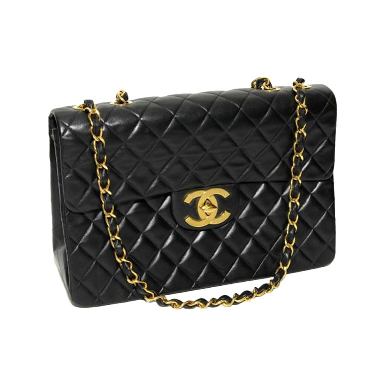 Chanel Jumbo Quilted Double Flap Black 34cm Gold Hardware. 1