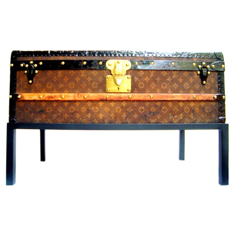 Antique louis vuitton cabin trunk coffee table early 1900s - Antique trunk coffee table ...