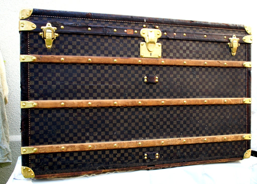 RARE HUGE Antique Louis Vuitton Haute Damier Steamer Trunk from 1893 image 10