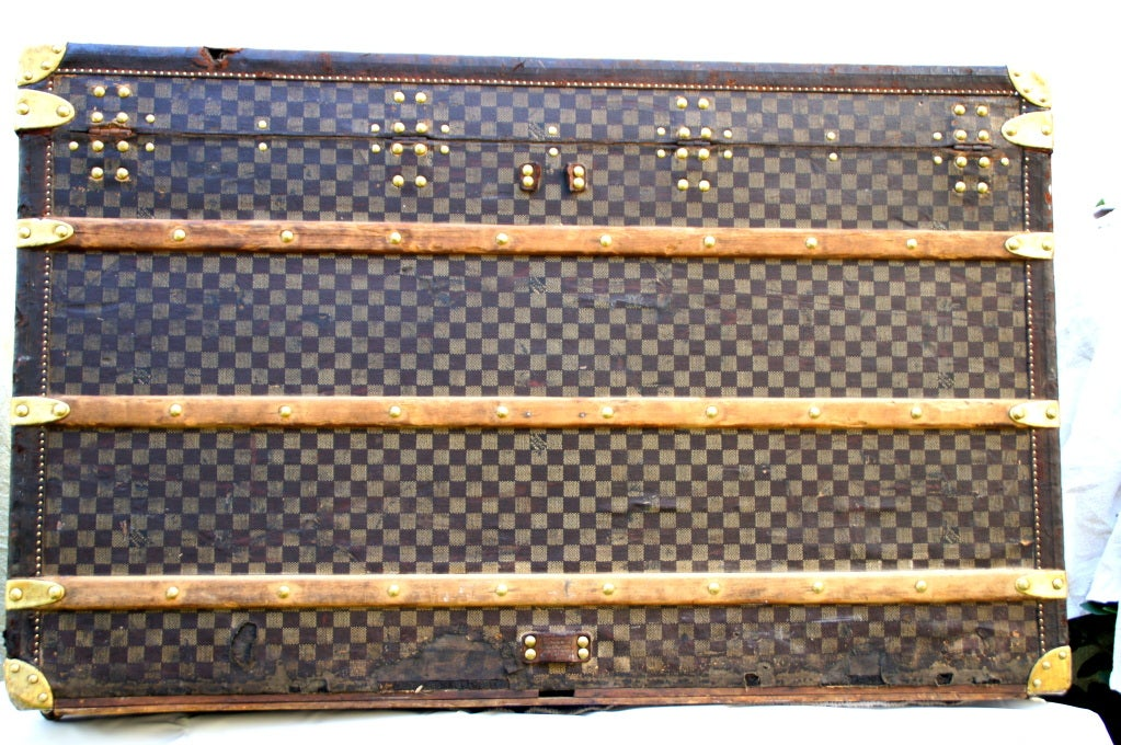 RARE HUGE Antique Louis Vuitton Haute Damier Steamer Trunk from 1893 image 5