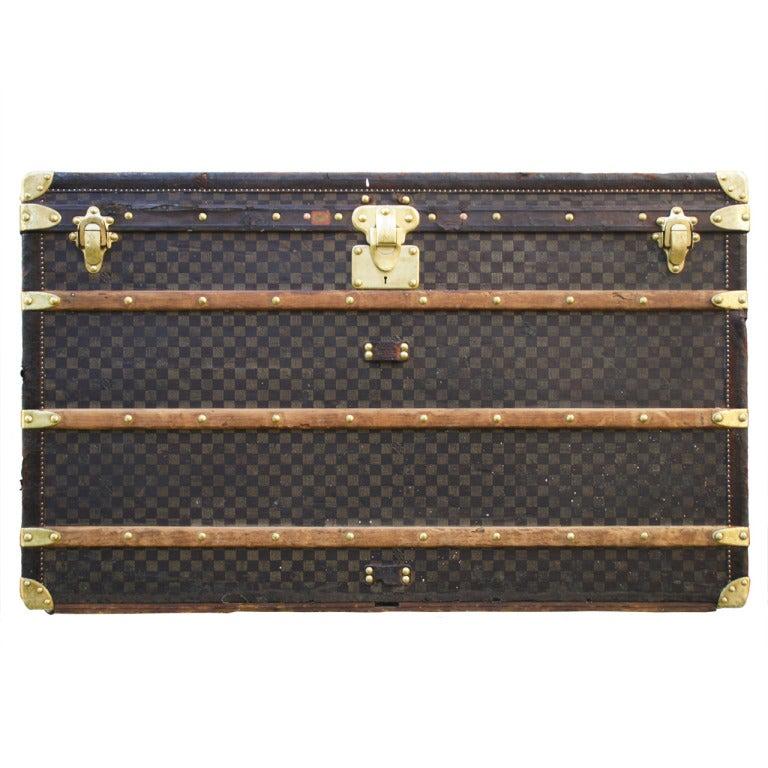 RARE HUGE Antique Louis Vuitton Haute Damier Steamer Trunk from 1893 1